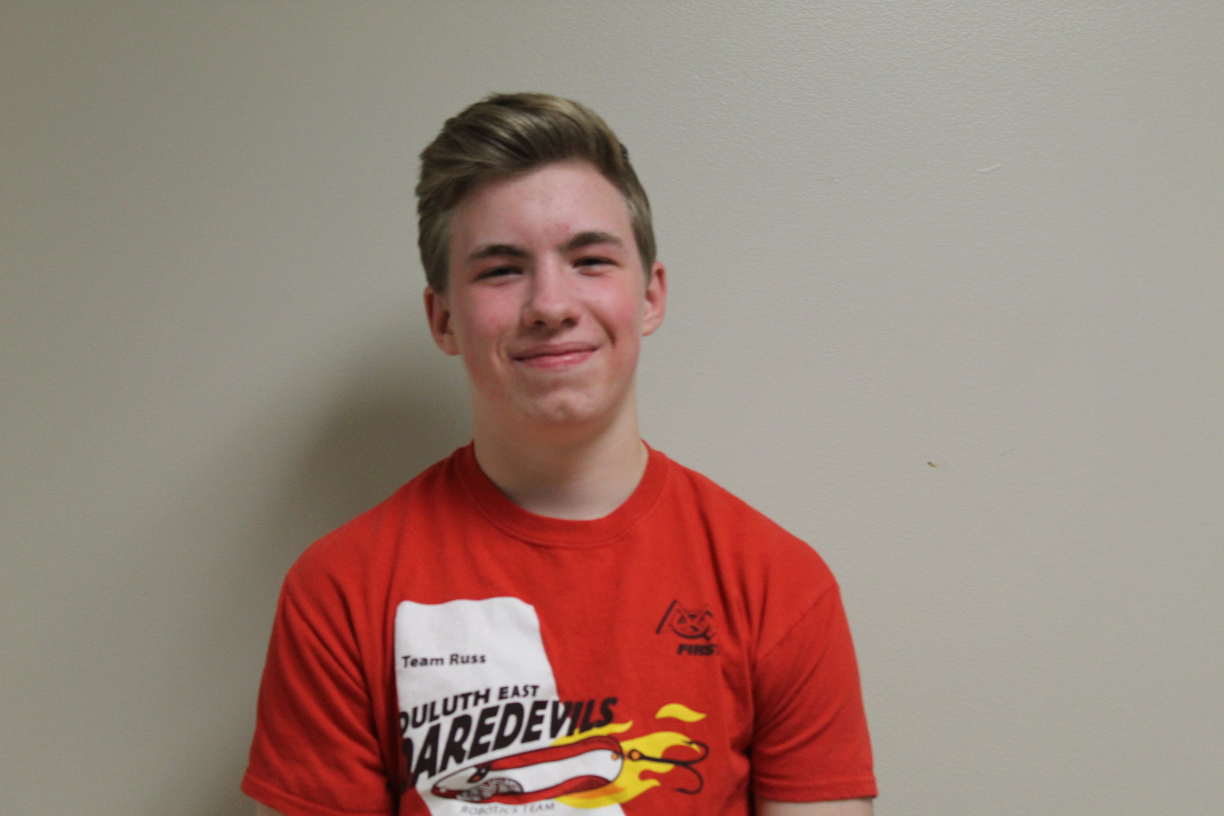 sean h. - Sean is a sophomore at Duluth East, and this is his 1st year on the team. He joined the team because of his interest in STEM. In his free time he likes to make bowling balls and play saxophone.