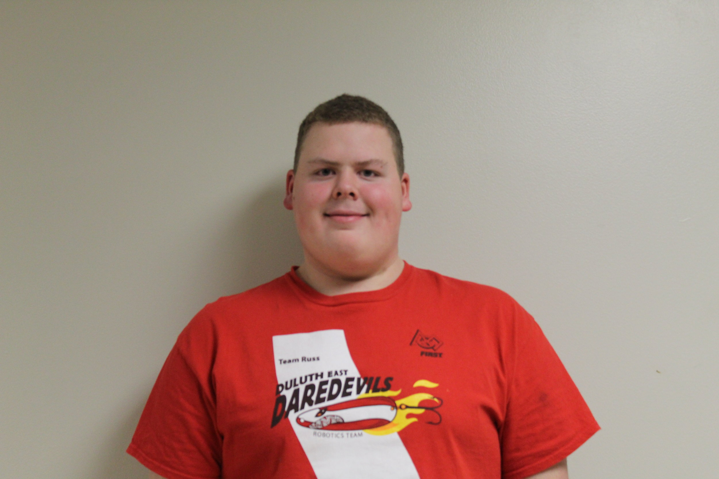 Jacob R. - Jacob Reed is a sophomore at Duluth East, and this is his second year on the team. He was introduced to CAD in the 8th grade. Jacob joined the team because he was interested in robotics and wanted to further his CAD experience. During his free time he enjoys fishing, messing with Lego, and gaming when he can.