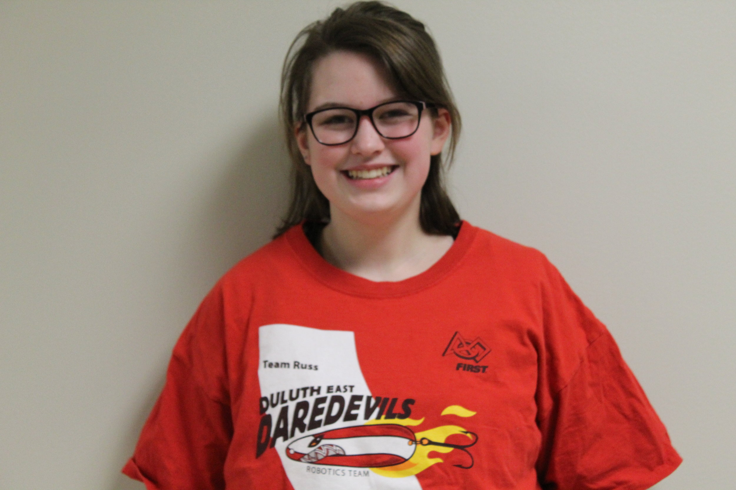 captain: Annalise B. - Annalise is a sophomore at Duluth East, and this is her first year on the Daredevils. She heard about the team through friends and was immediately interested. In her free time she enjoys doing more robotics.