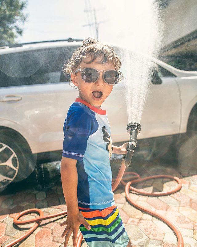 First time washing the car together, SO MUCH FUN!!!!!!! #carwash #summer #fun
