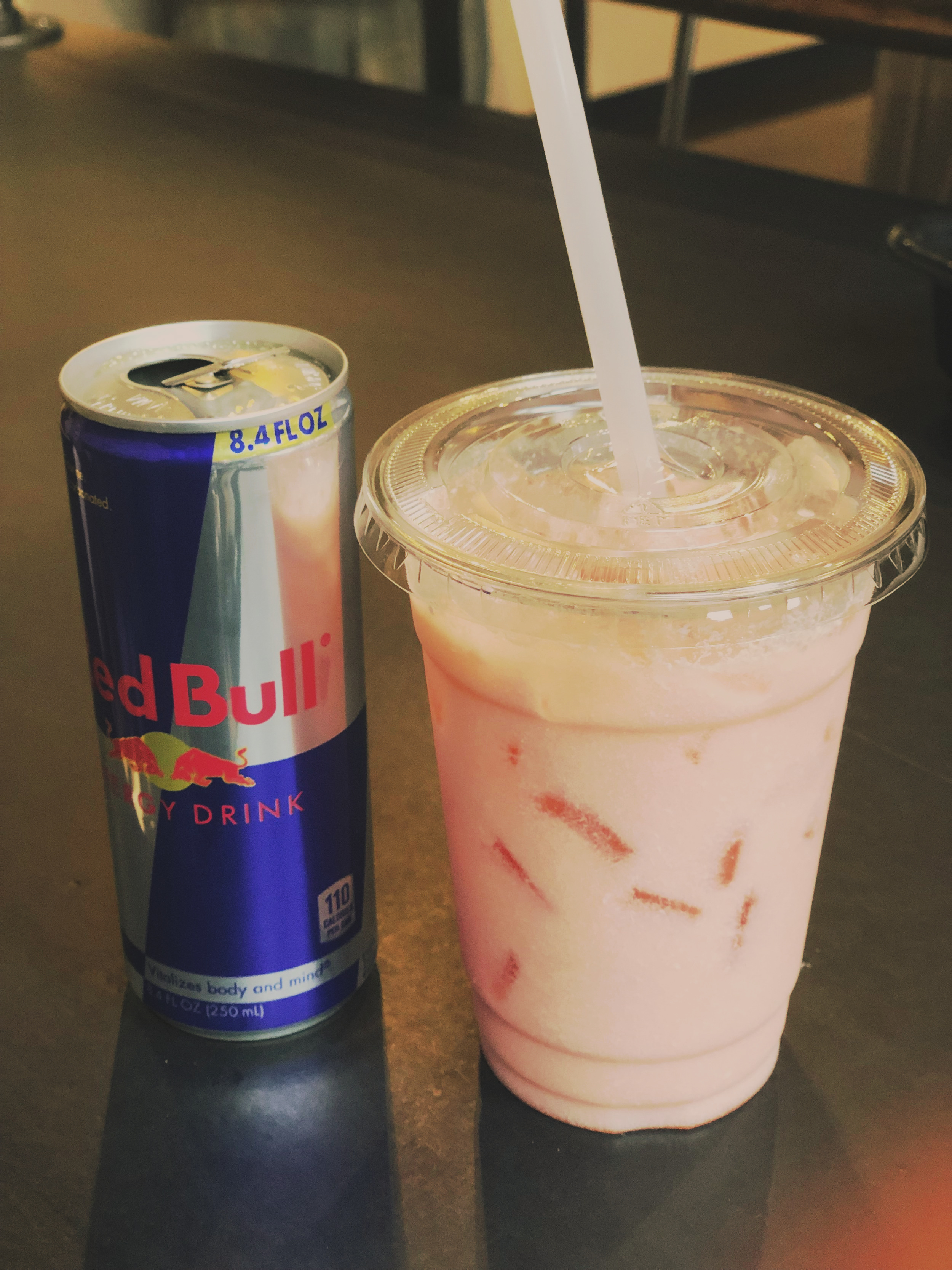 red bull Italian soda $5.75 - Ask to substitute the Red Bull for your favorite bottled beverage in our fridge to make a one-of-a-kind creation