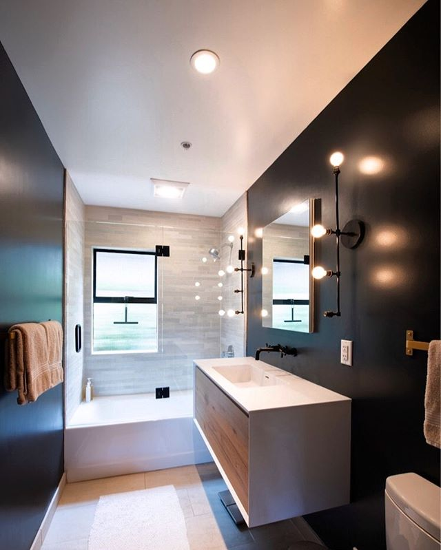 Black walls are so chic!  TB to this remodel done a year ago in SF.  #blackwalls #bathroomremodel