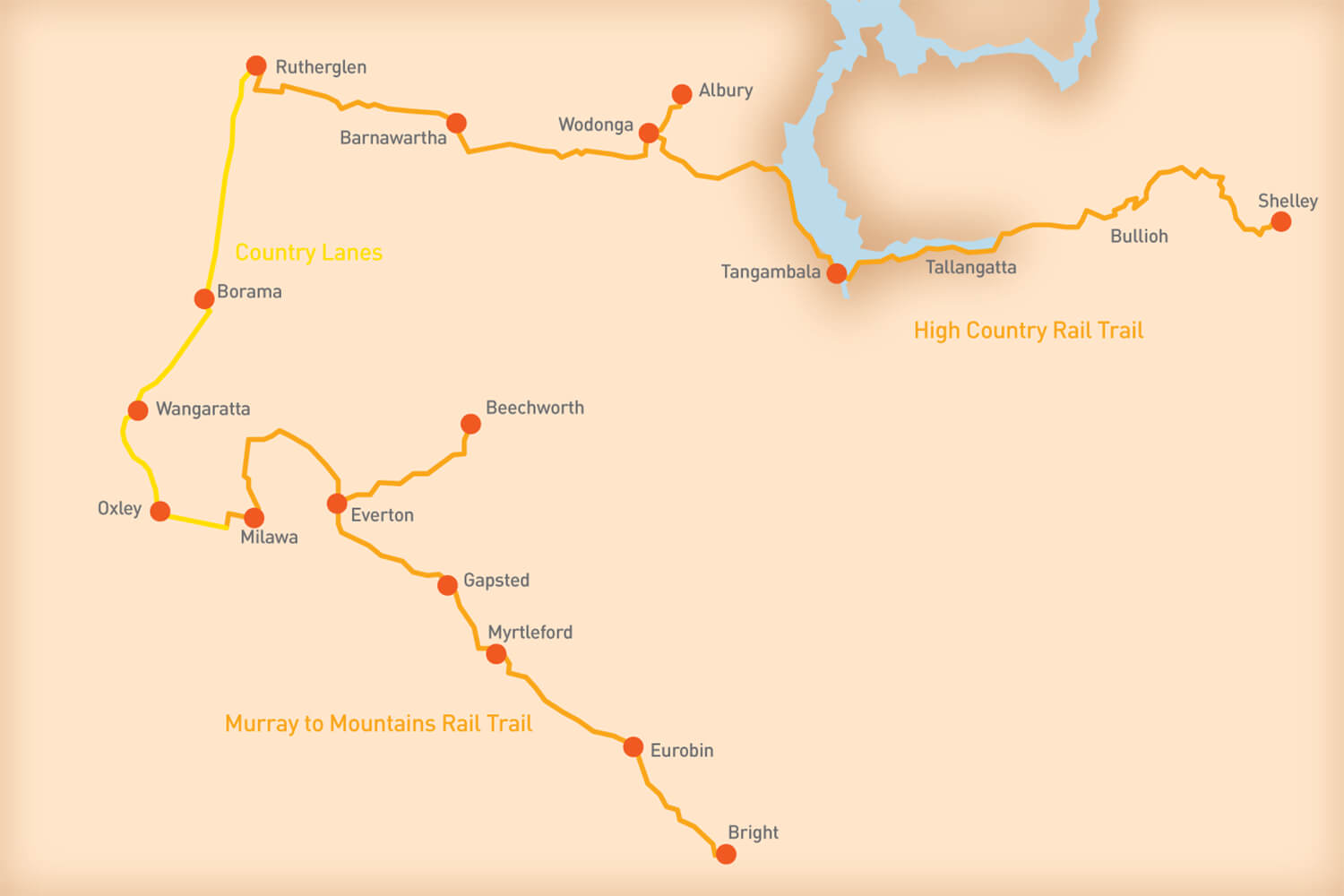 Rail Trails and Country Lanes - Tour Route