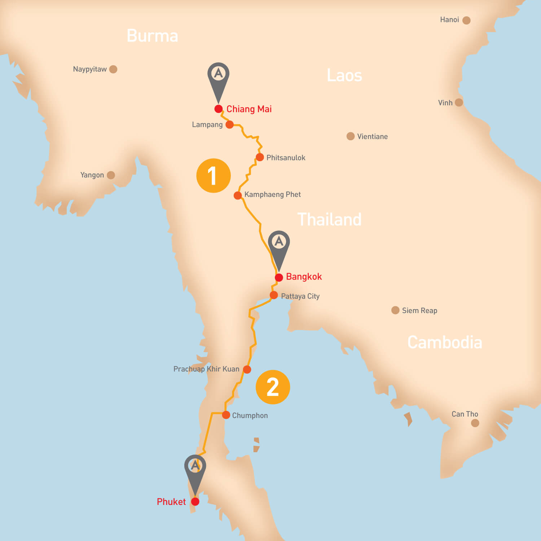 Thailand - Tour Route
