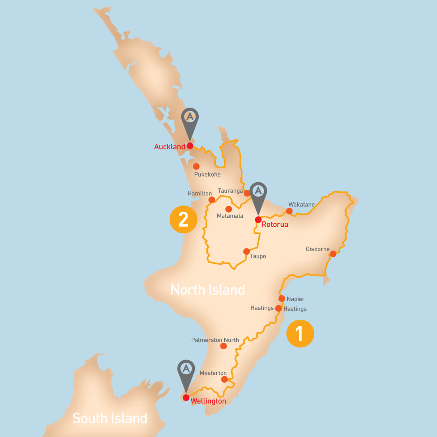New Zealand North Island - Tour Route