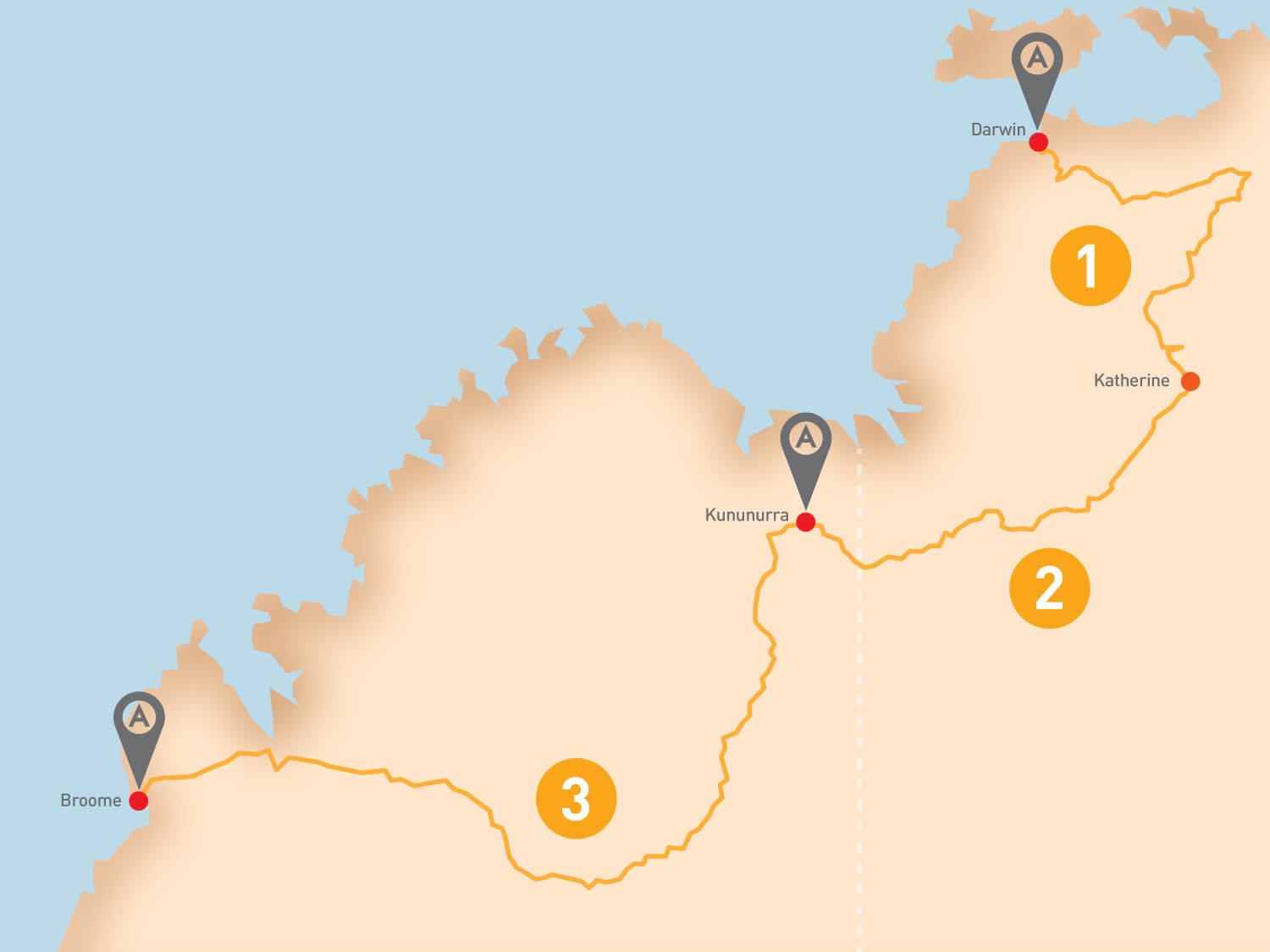 Darwin to Broome - Tour Route