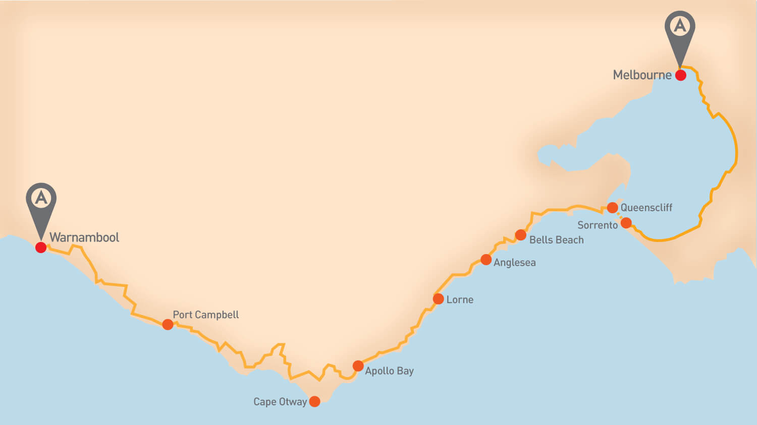 Great Ocean Road - Tour Route