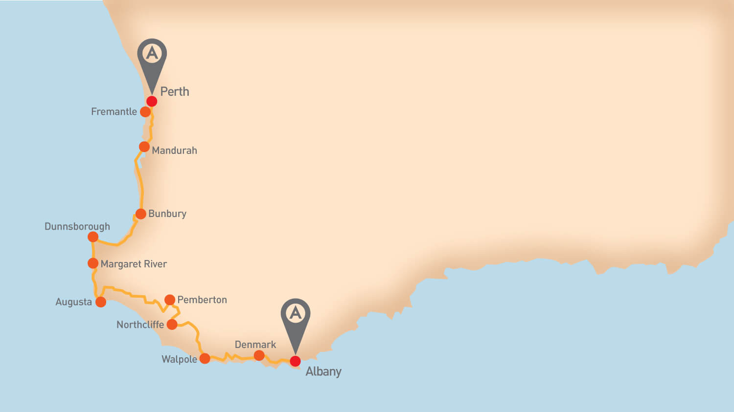 Great South West - Tour Route