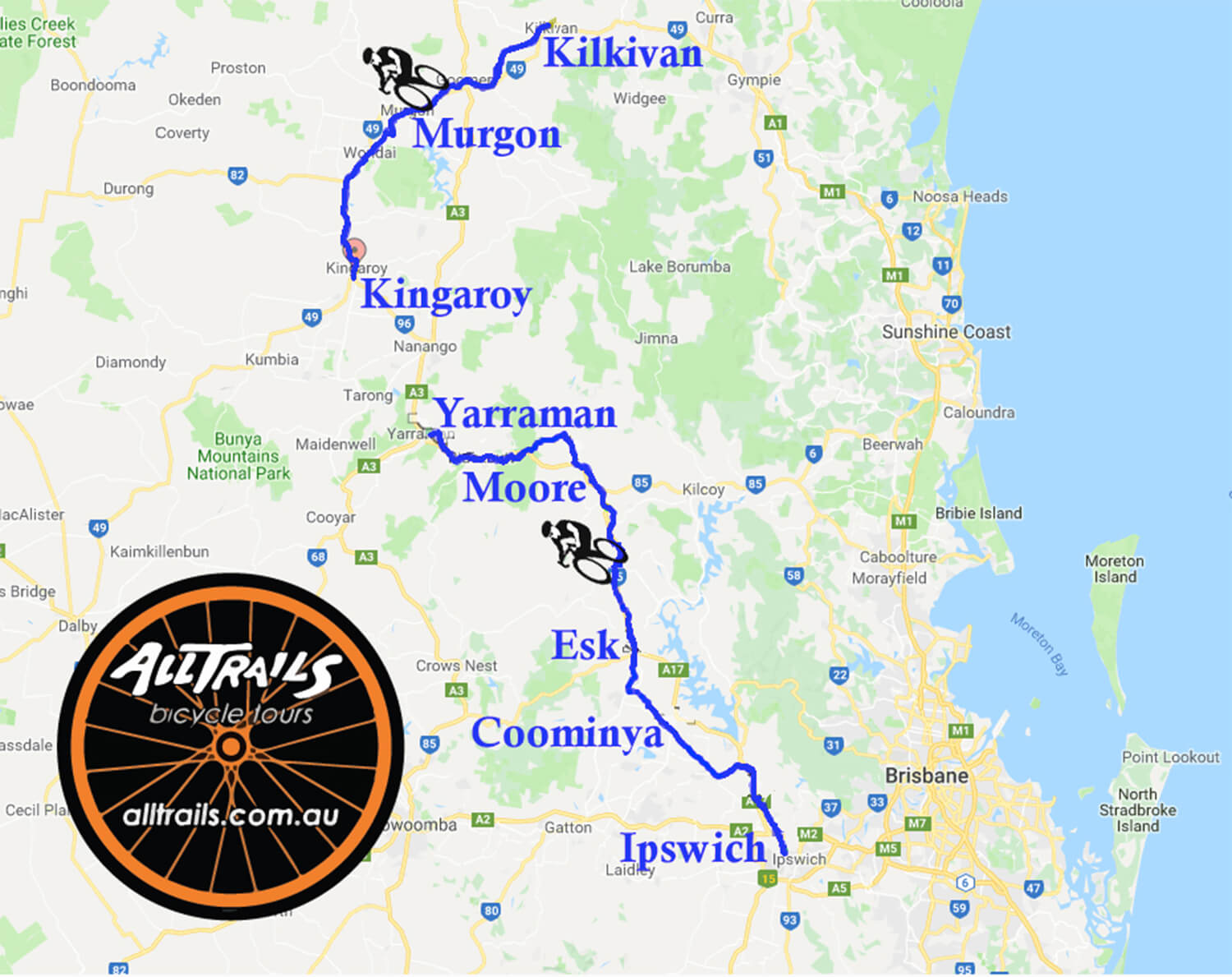 Queensland Rail Trails - Tour Route
