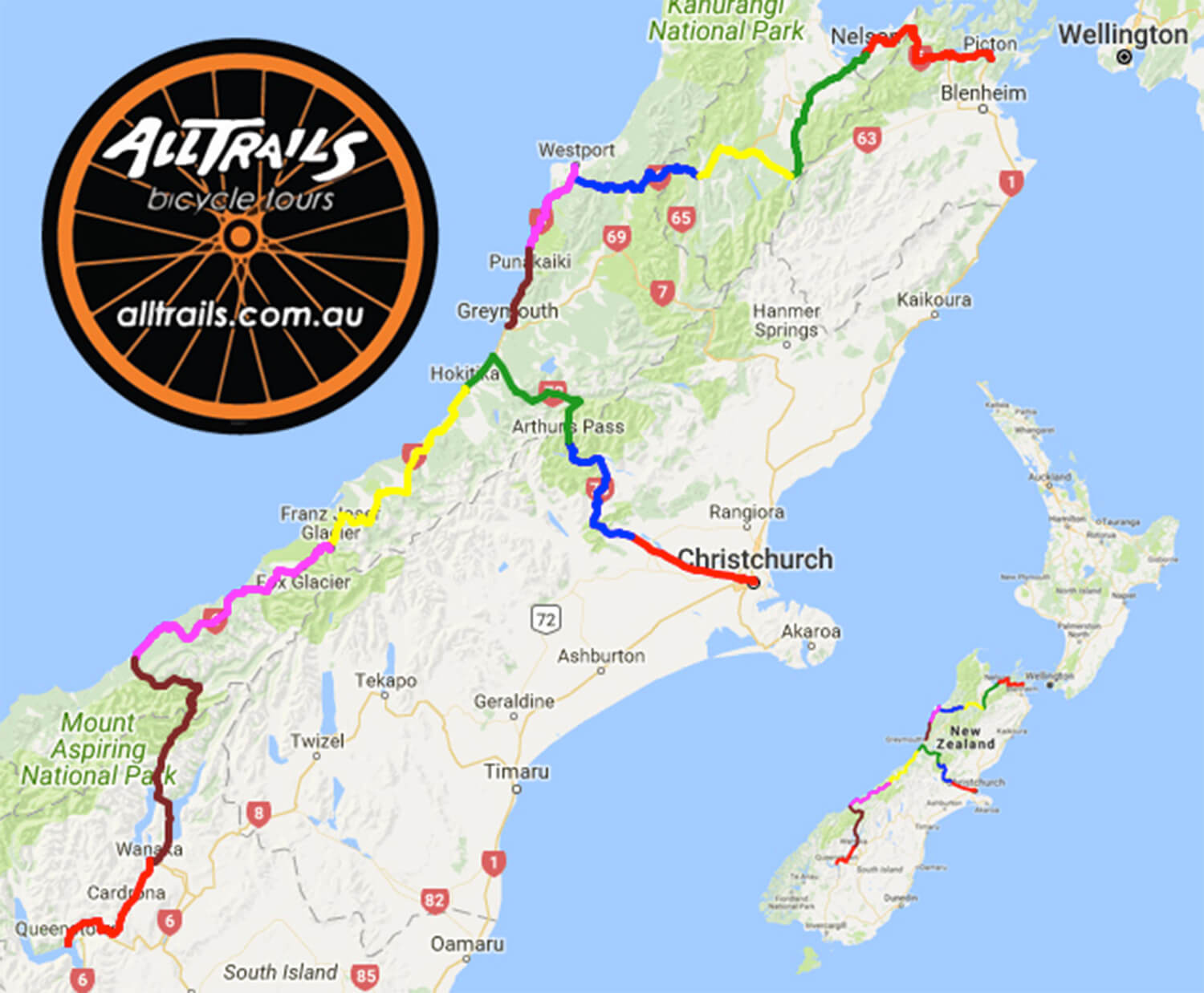 New Zealand South Island - Tour Route