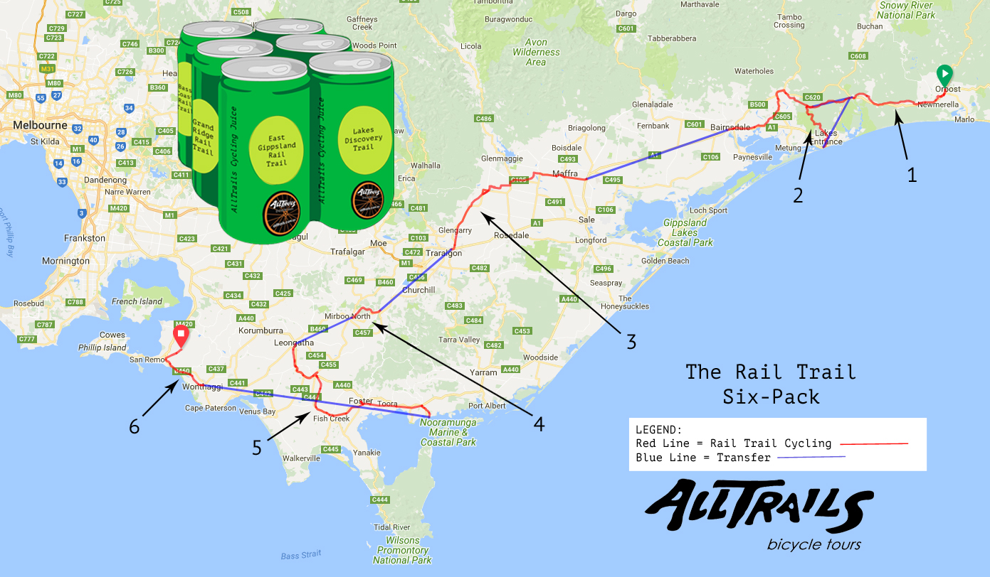 Rail Trail Six Pack - Tour Route