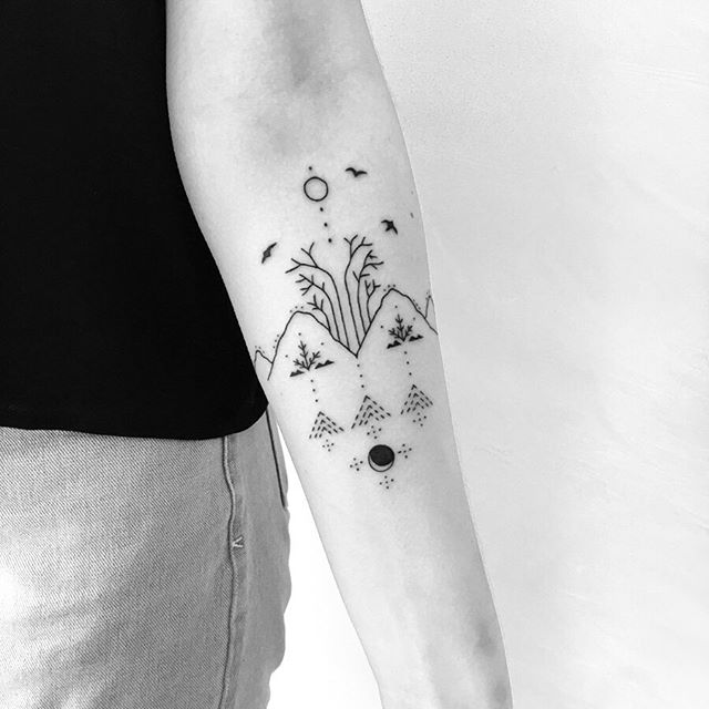 For Lauren // in loving memory of her father • • • from those who have passed still remain living memories, embodied life & energy through the ancestral line • connected from the roots below • remembered through the night sky // Mountain ranges and bush scape for his love of the Australian landscape • Thank you so much Lauren 🧡🌿 || Handpoked @xolavant       #handpoke #handpoketattoo #sticknpoke #stickandpoke #nadika #xolavant #adelaidetattooartist #pattern #patternwork #simpletattoo #tattooart #illustration