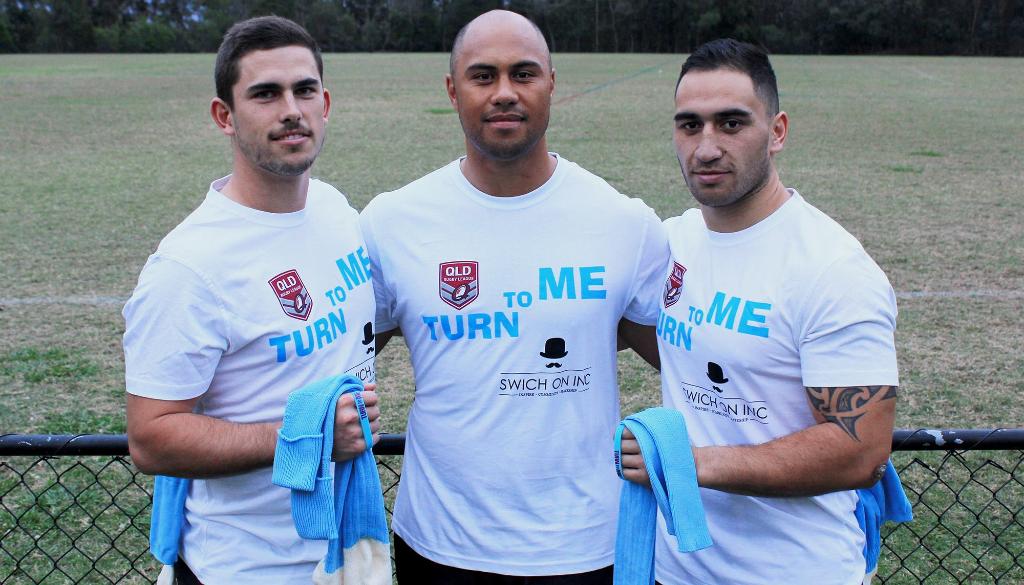 Souths Logan Players, Jack Joass, Leon Panapa & Dan Tamou proud to don the Swich On Inc T-Shirt at this weekend's QRL Turn To Me round. July's Turn To Me Luncheon was a great success and again raised awareness of men's health through the Turn To Me initiative.