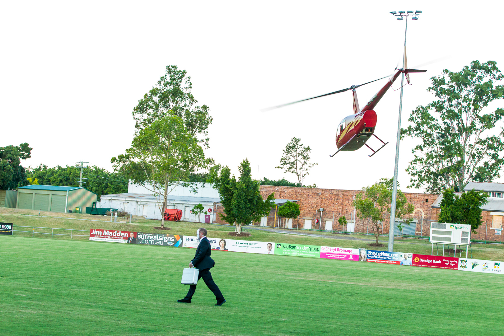 James Bond arrives in style to the North Ipswich Reserve where his 'meet' is about to take a turn for the worst. Guests had no idea a helicopter was about to land as they enjoyed some pre event drinks in the afternoon.