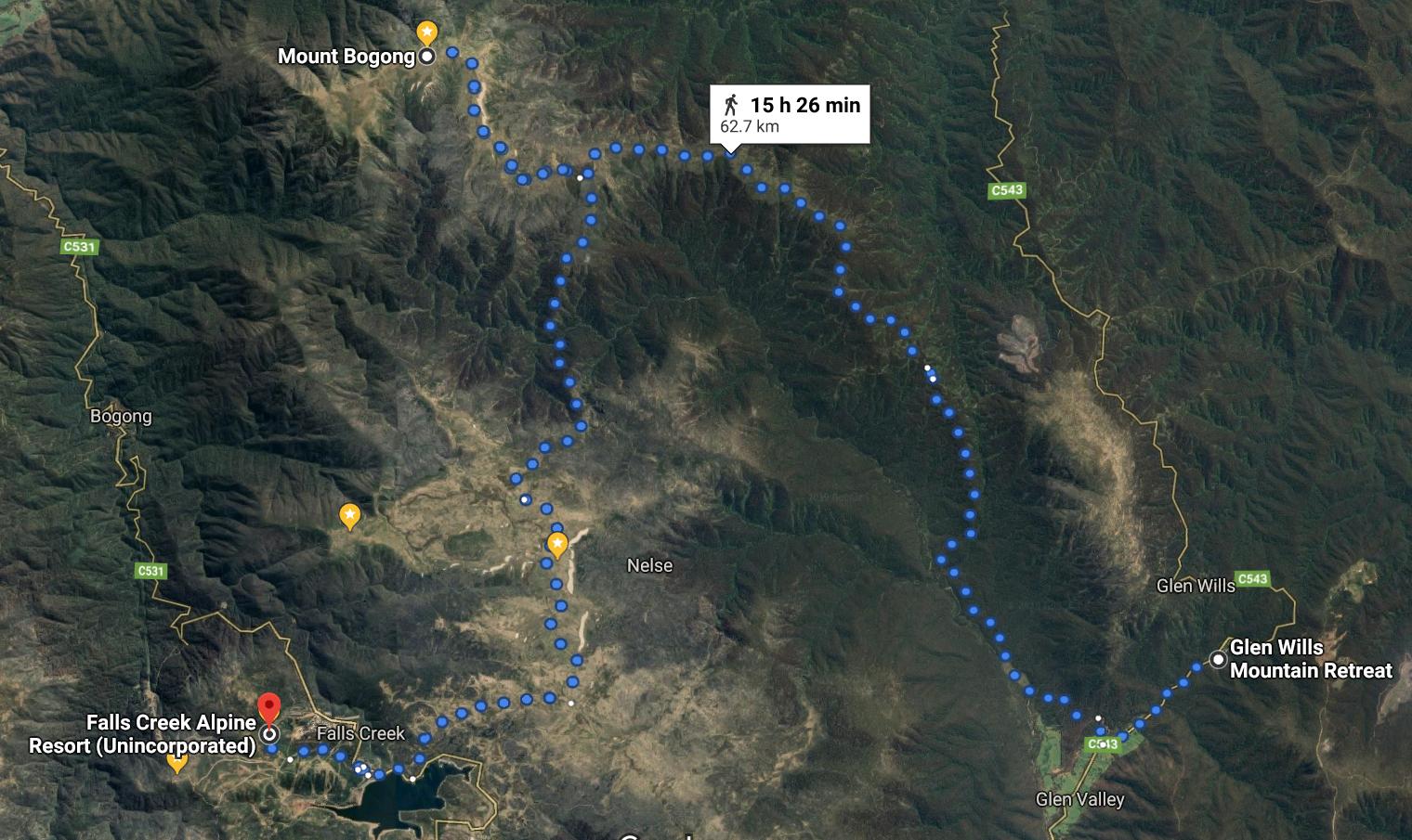 10 Glen Wills to Falls Creek 60kms via Bogong