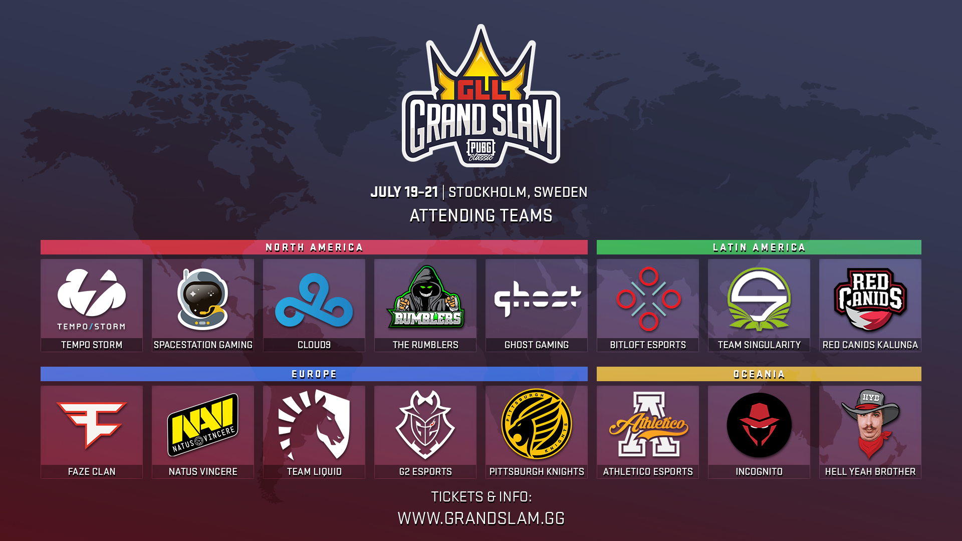 The 16 qualified teams for the GLL Grand Slam: PUBG Classic. From North America Tempo Storm, Spacestation Gaming, Cloud9, The Rumblers and Ghost Gaming qualified. From Latin America we saw Bitloft Esports, Team Singularity as well as the team previously known as Brazilian Crusaders (now RED Canids Kalunga). There was also three teams from Oceania: Athletico Esports, Incognito and Hell Yeah Brother. Finally from Europe FaZe Clan, Natus Vincere (Na'Vi), Team Liquid, G2 Esports - and by a cheer miracle, Pittsburgh Knights qualified. These teams will face off in Stockholm, Sweden at Stockholmsmässan to battle for $300,000.