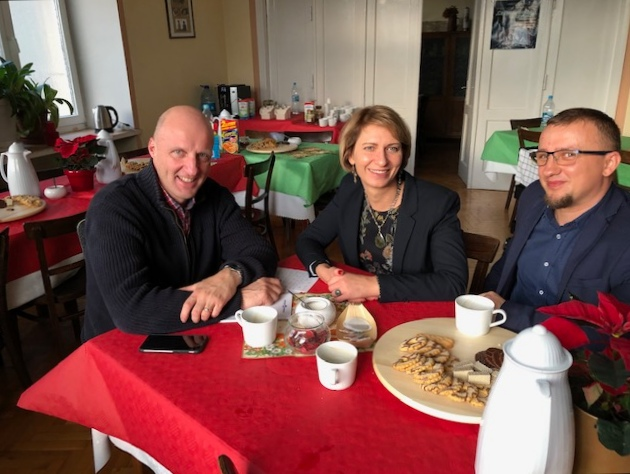 Rev. Laurence Graham (General Secretary of WMP) with Monica and Darek, both ministers for Elk and Stareguchy churches.