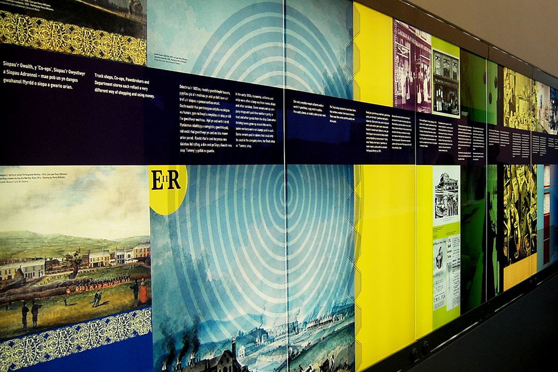 NATIONAL WATERFRONT MUSEUM Swansea  Exhibition graphics for this large museum highlighting Wales' industrial heritage