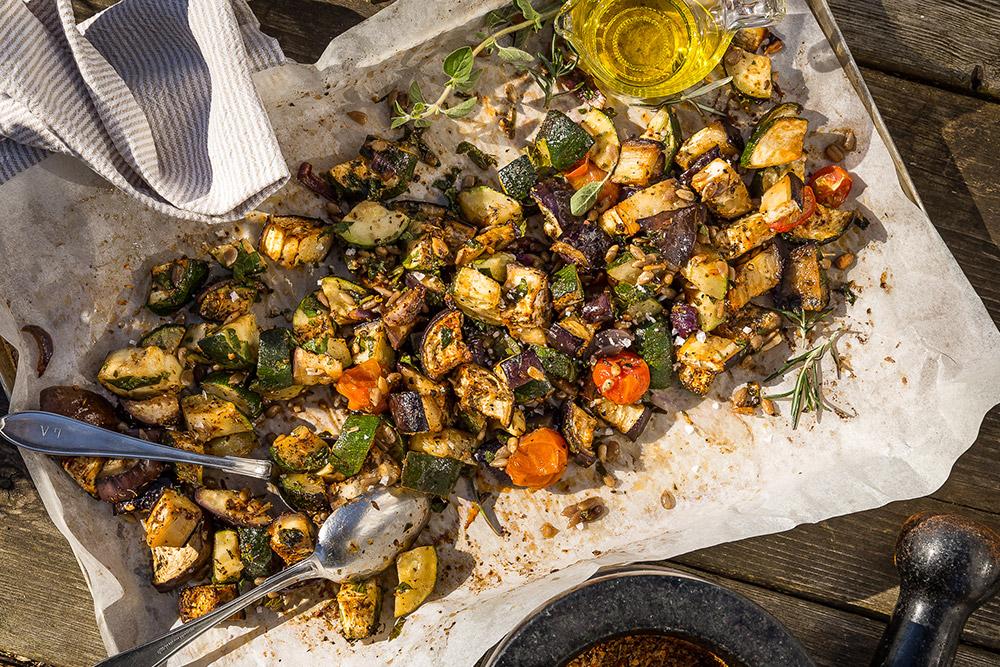 Caponata på grillade grönsaker -