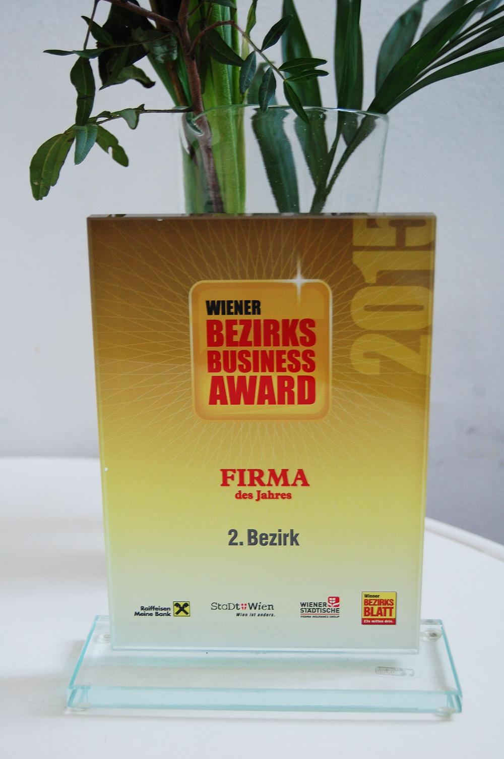 Wiener Bezirks Business Award - … von den Lesern des Bezirksblattes Leopoldstadt zur Firma des Jahres 2015 gekürt!
