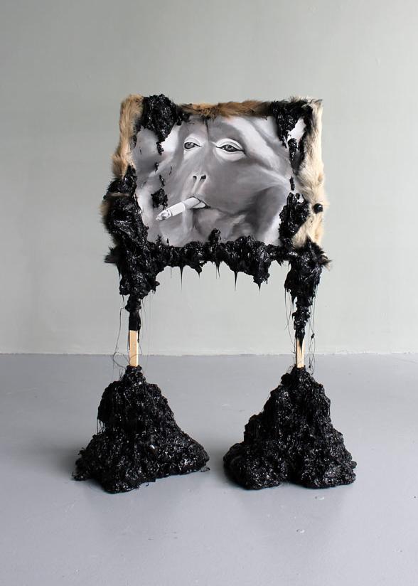 Smoking monkey | 2012 | oil on linen | mixed media
