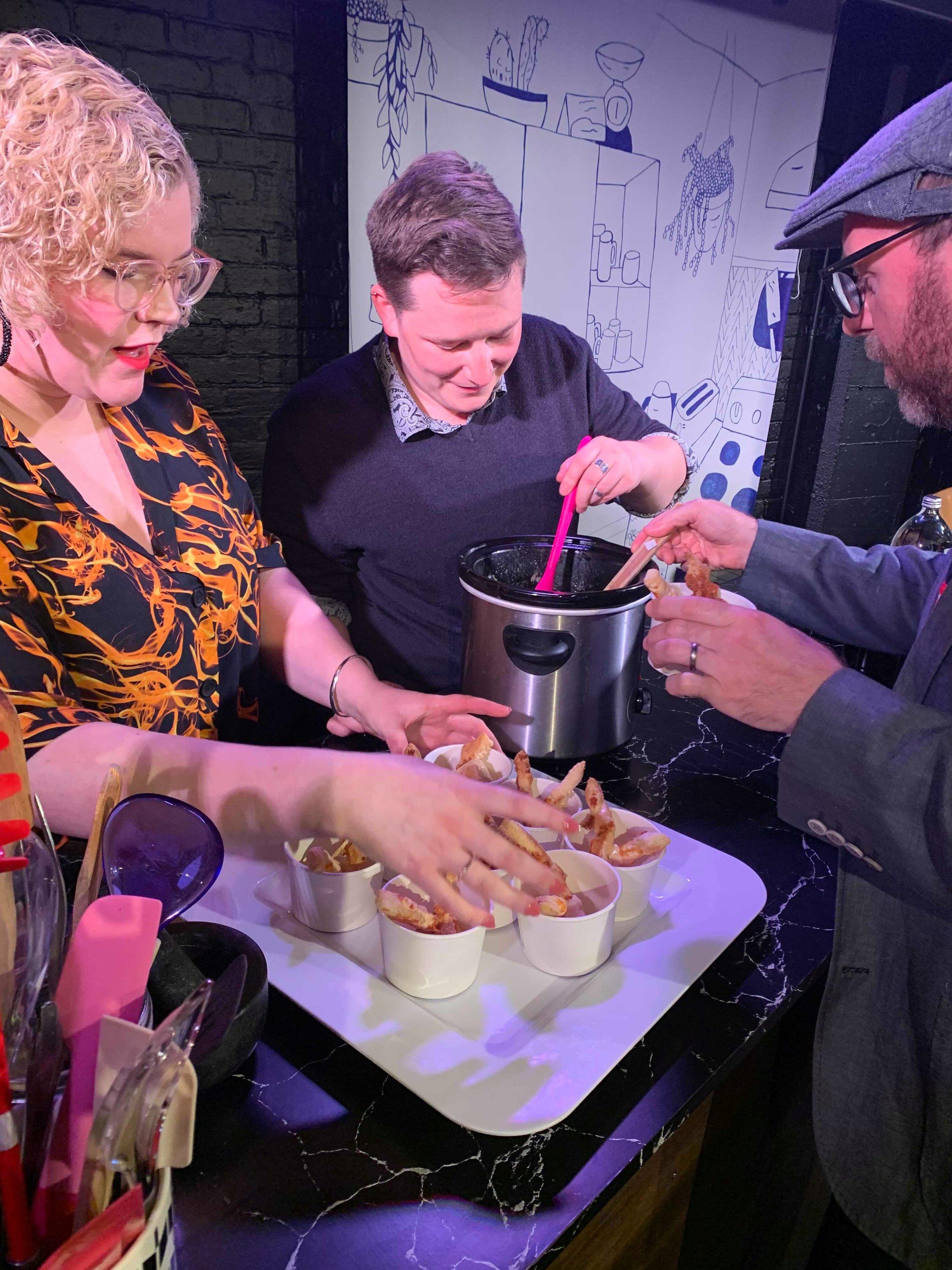 Saturday 15 - Ray Shipley serves up their family recipe of cheese fondue.jpg