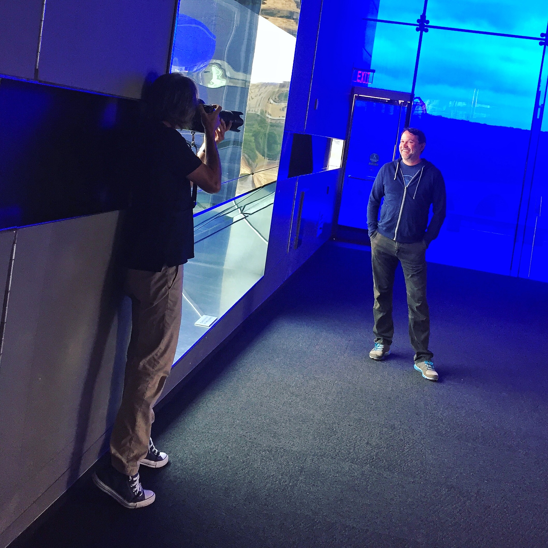 Scott photographing us at the Guthrie Theatre in Minneapolis, 2018.