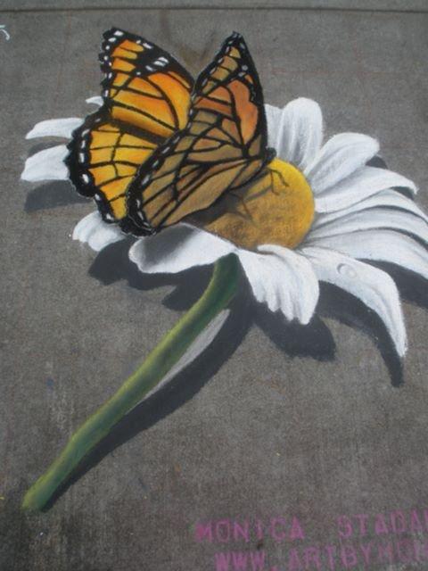 3-D Butterfly and Daisy Street Art