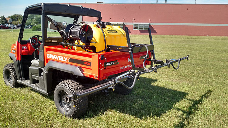 Bestway UTV Sprayers w/ Exclusive Fiberworks Boom Systems - 40 gal., 5.3 gpm 12v pump, handgun, 25' 3/8 hose - • 60 gal., 5.3 gpm 12v pump, handgun, 25', 3/8 hose • 100 gal., 5.3 gpm 12v pump, handgun, 25', 3/8 hose • 60 gal., Honda GX120 engine, 4101XL roller pump, handgun • 100 gal., Honda GX 120 engine 4101XL roller pump, handgun • Boom, 5' non-folding, 4 nozzles, 25' swath • Boom, 12' folding, 7 nozzles, includes AIXR tips • Boom, 18' folding, 11 nozzles, includes AIXR tips • Boom mount for skid, over tailgate design • Boom mount, 2' receiver hitch • Hose reel, manual • Control arm, swing-away for gas engine units