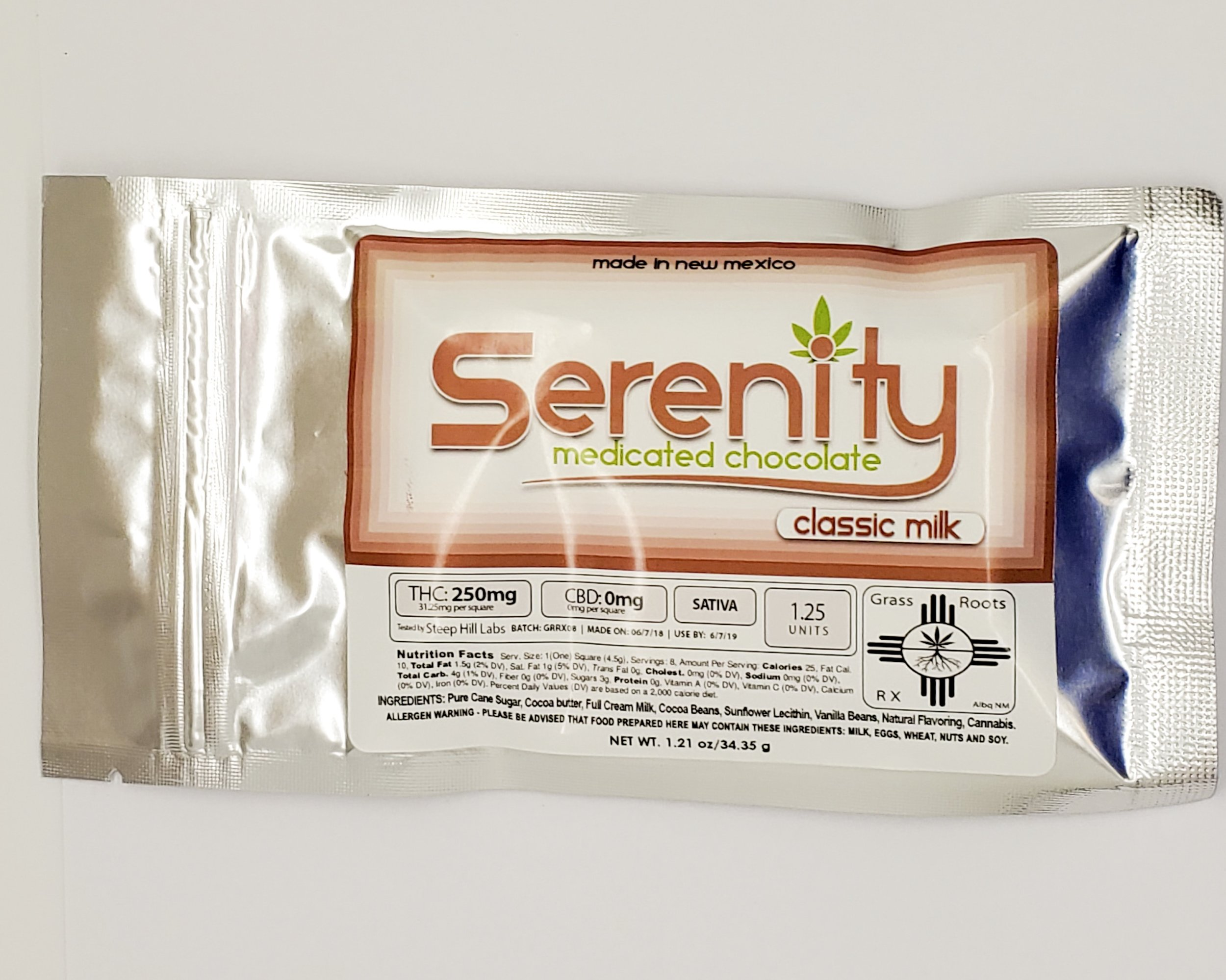 Serenity Milk Chocolate Bar - Sativa