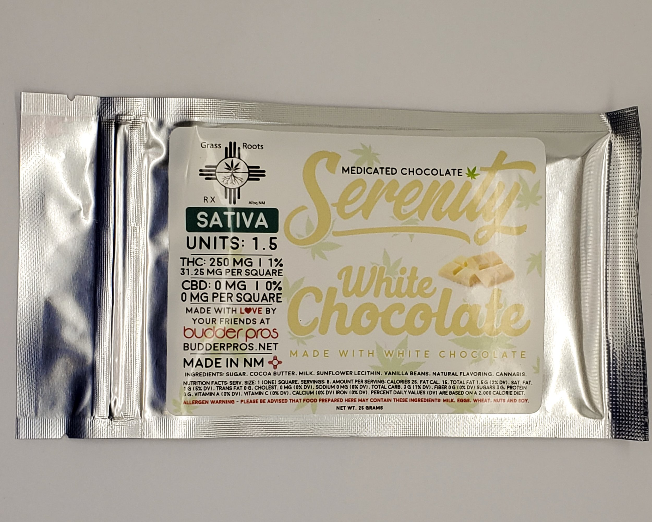 Serenity White Chocolate Bar - Sativa