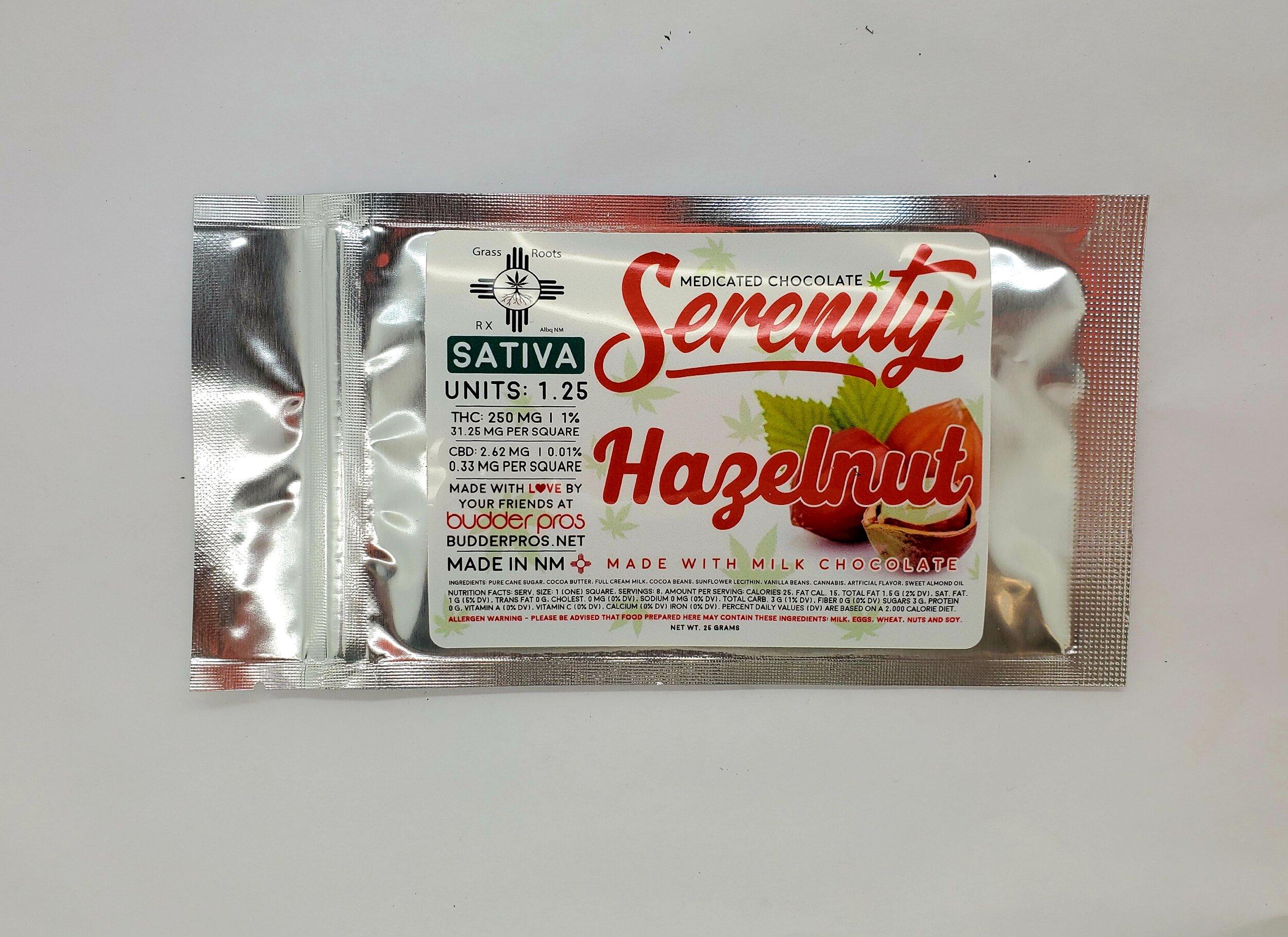 Serenity Hazelnut Chocolate Bar - Sativa