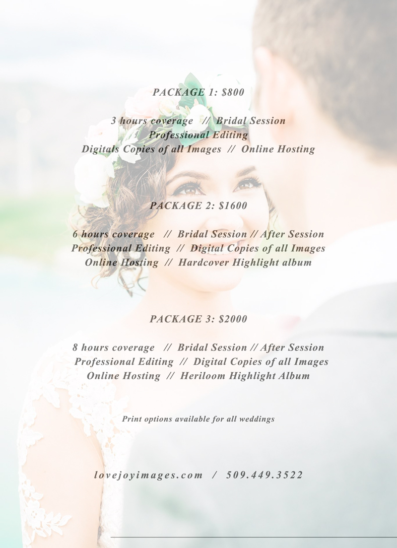 Wedding Pricing Sheet - Current for 2019-2020. Packages can be customized to fit any budget.