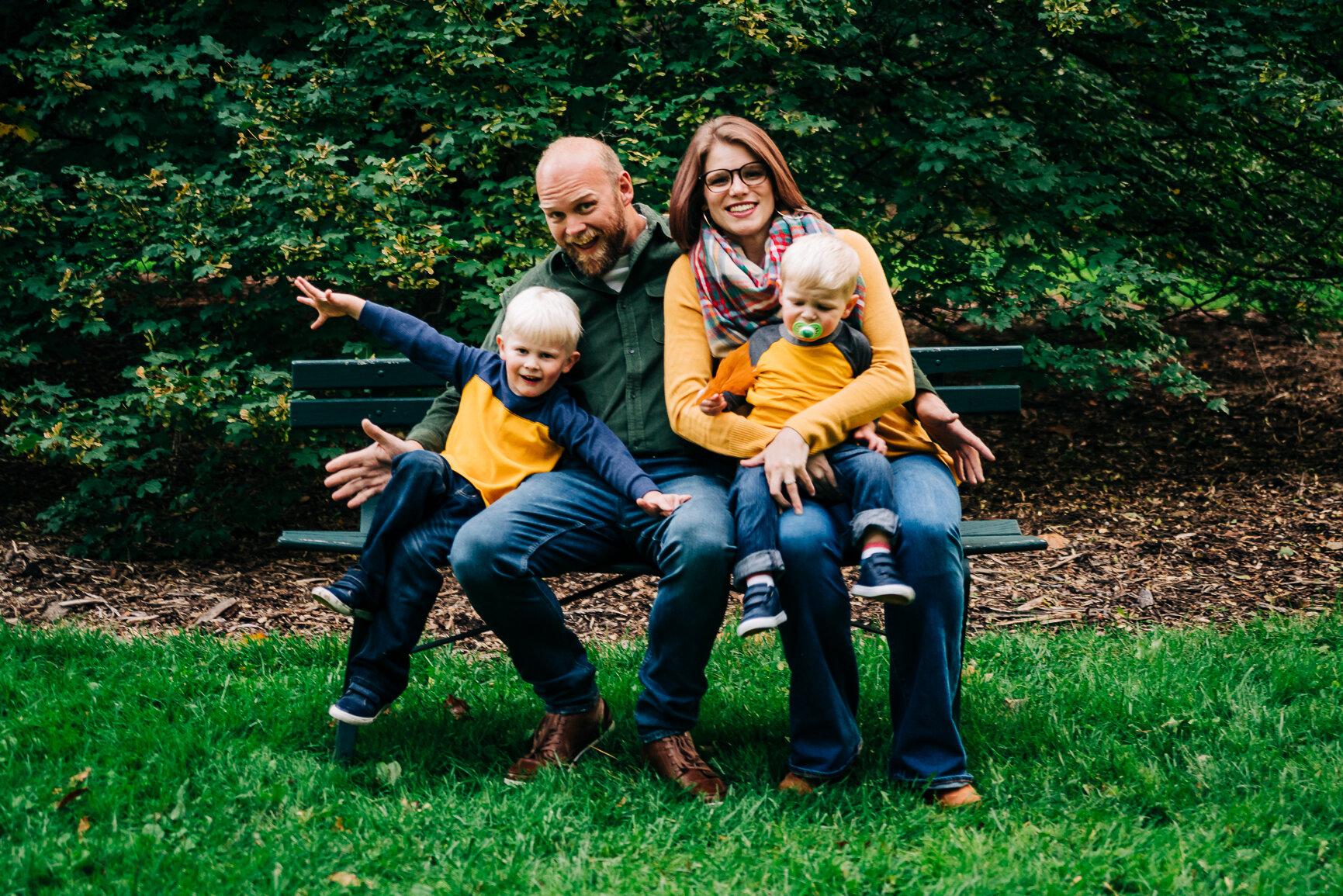 Family Portrait at Finch Arboretum in Spokane, Wa