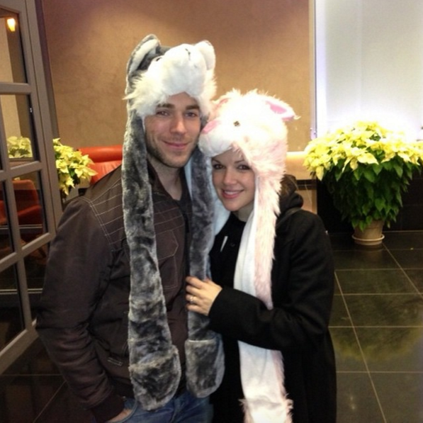 AND…our first picture as an engaged couple (recognize the bunny hat?) -