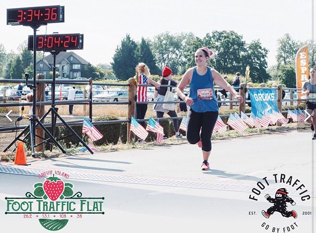 """It might not be an actual selfie, but when I saw this picture, I was struck by how happy I look. This was taken the moment I crossed the finish line, and in that moment I was so excited that I finished. What was amazing was not 2 minutes later I was beyond frustrated with myself, and my inner dialogue was completely negative.  I wasn't fast enough.  I had to walk therefore I was weak.  I wasn't smart enough with my training which means I'm not a real runner.  I could go on, but I think you get the picture. These thoughts have stuck with me over the past couple of weeks, taking intentional effort to silence them. As I'm launching back into training for another half in October, I'm keeping my race mantra in the front of my mind: """"God has created me to do more than I think I can do."""" Not just in running, but in all things. I'm excited to share this training journey with all of you starting tonight in my stories! . . . #xoxolovelaura #discoverunder5k #hellosummer #halfmarathontraining #nikerunning #runningwoman #faithoverfear #oregonrunner #selfiesunday #pdxbloggers #portlandblogger #stayfearless #lovelysquares #beauthentic #nikerun #nikewoman #summerrunning #shereadstruth #strongwomen #goalgetter #halfmarathoner #selfiesunday #runningmantra #newrunner"""