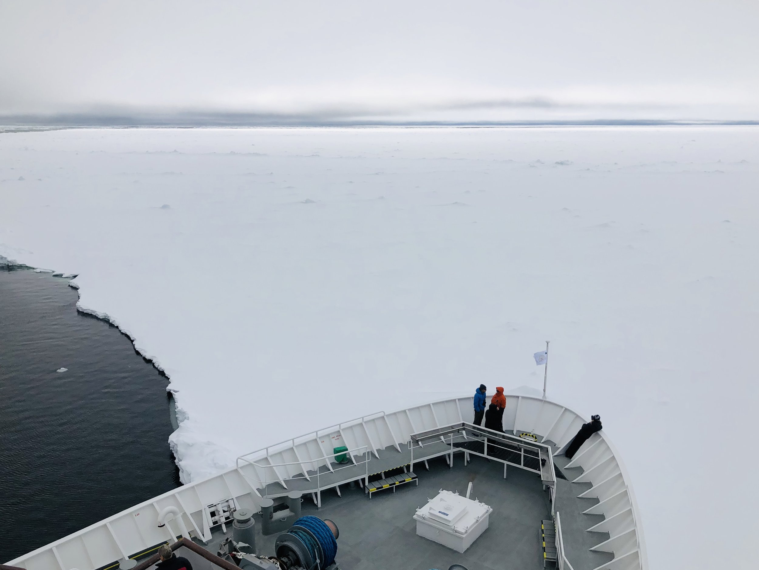 The National Geographic Explorer hitting the ice at 79.6 degrees North. This was where I plunged!
