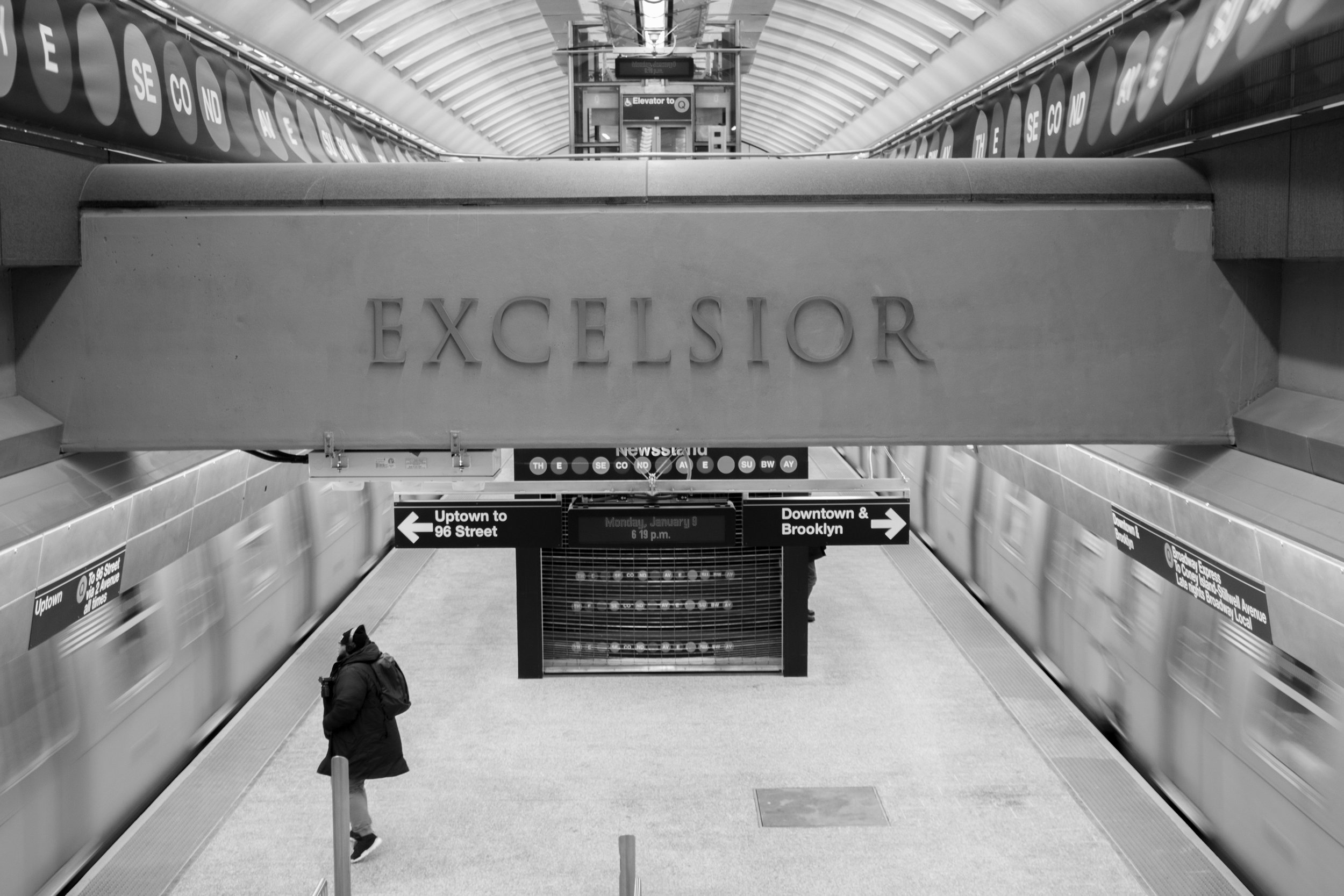 6 of 6:  Excelsior hanging above the track at Q subway station, Upper East Side, New York, NY/
