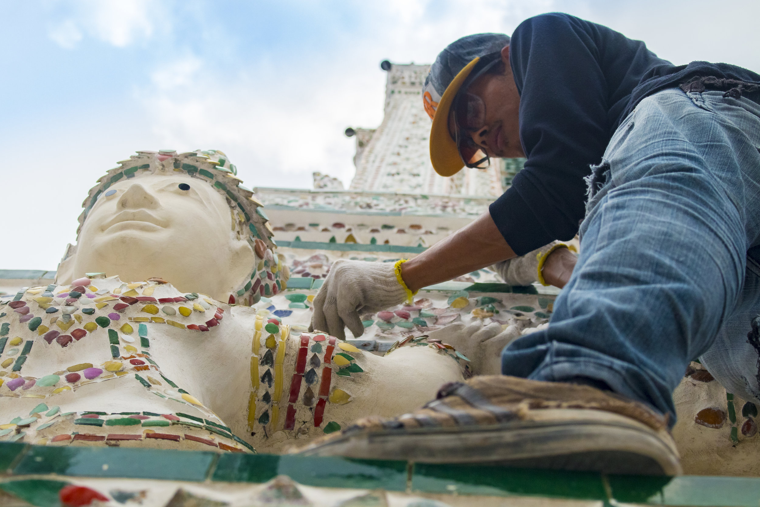 Reconstructive work being done on one of the spires of Wat Arun, Bangkok, Thailand