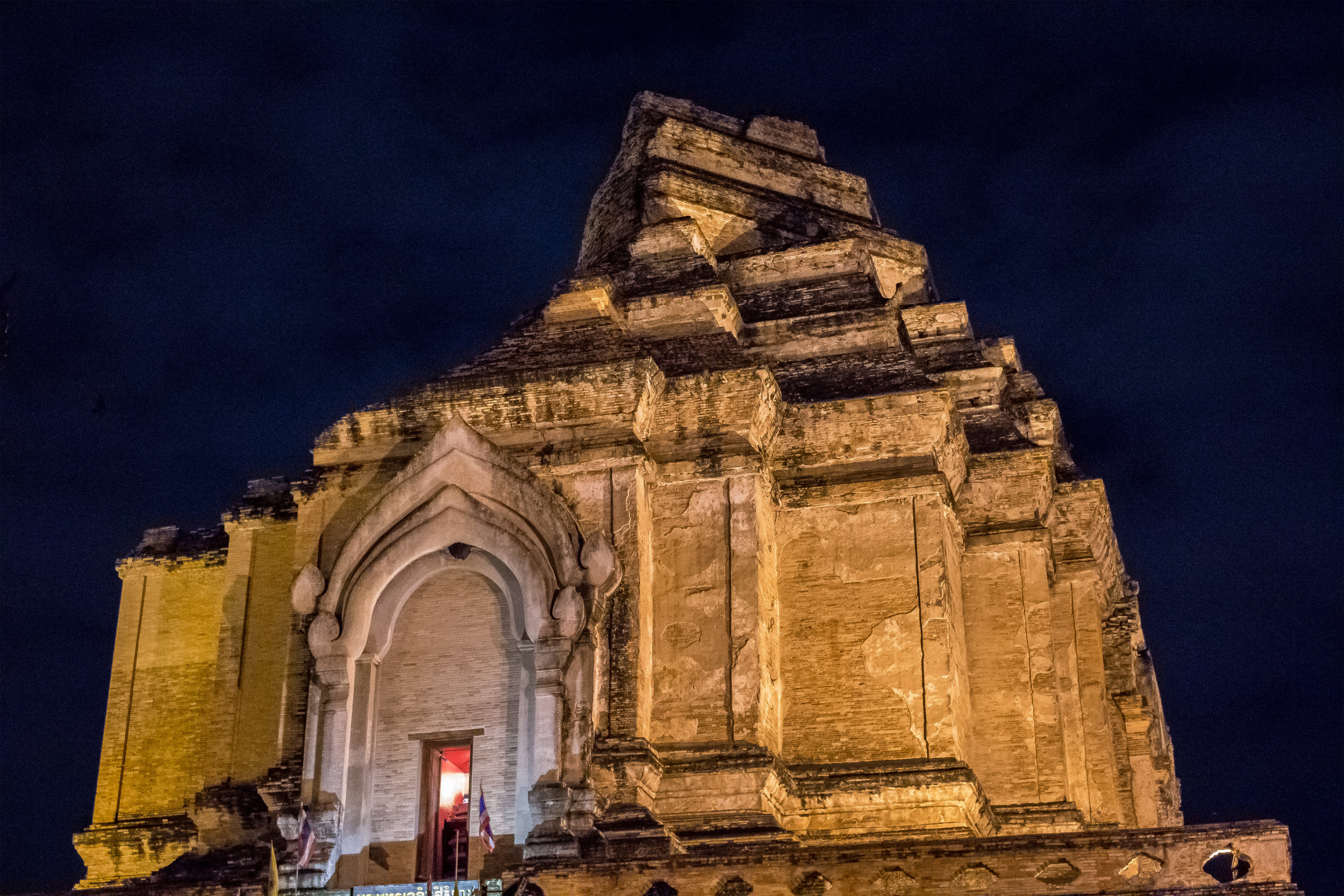Wat Chedi Luang at night, a UNESCO World Heritage site, and oldest temple in Chiang Mai