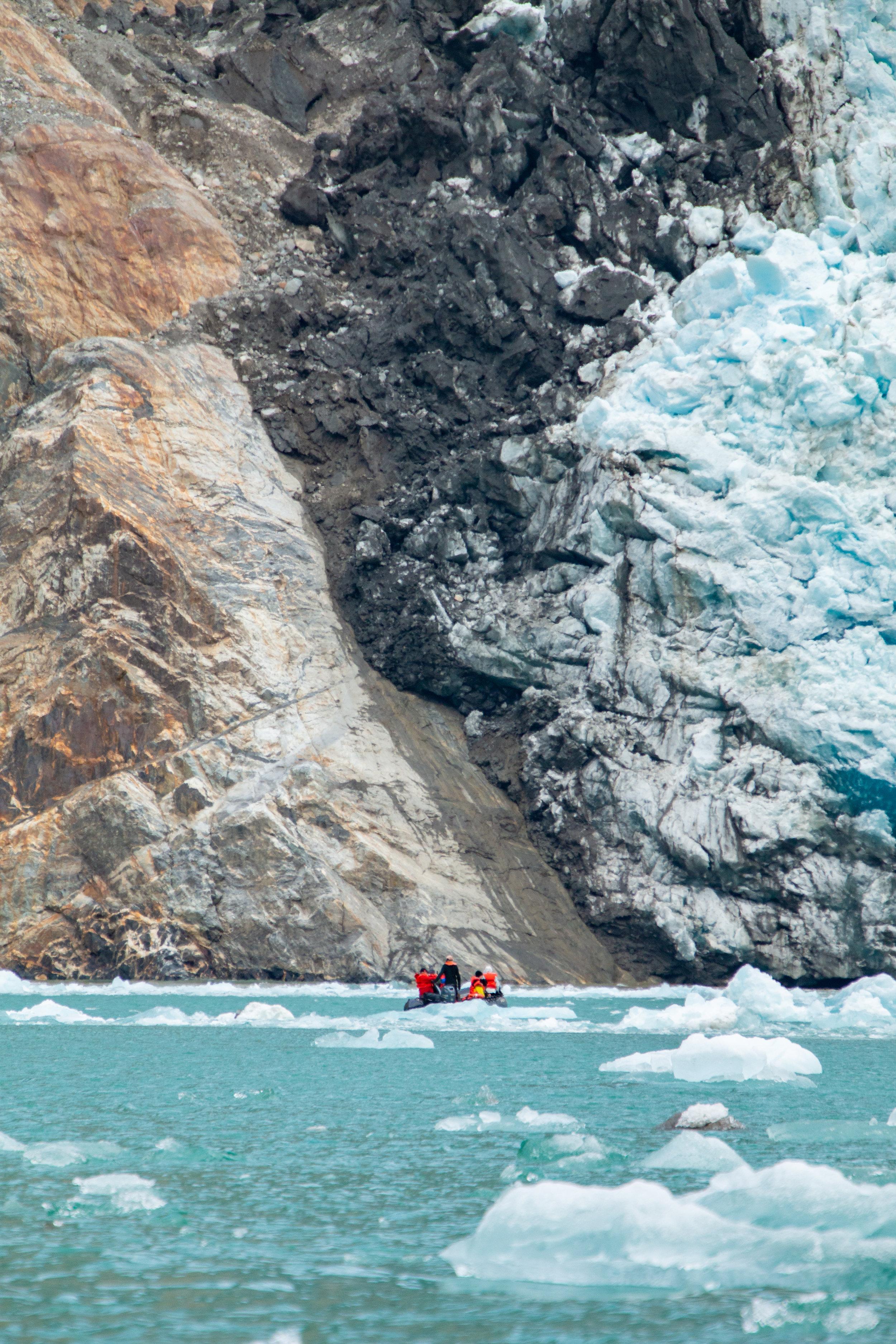 Zodiac approaching South Sawyer Glacier, Tracy-Arm Ford, Southeast Alaska.