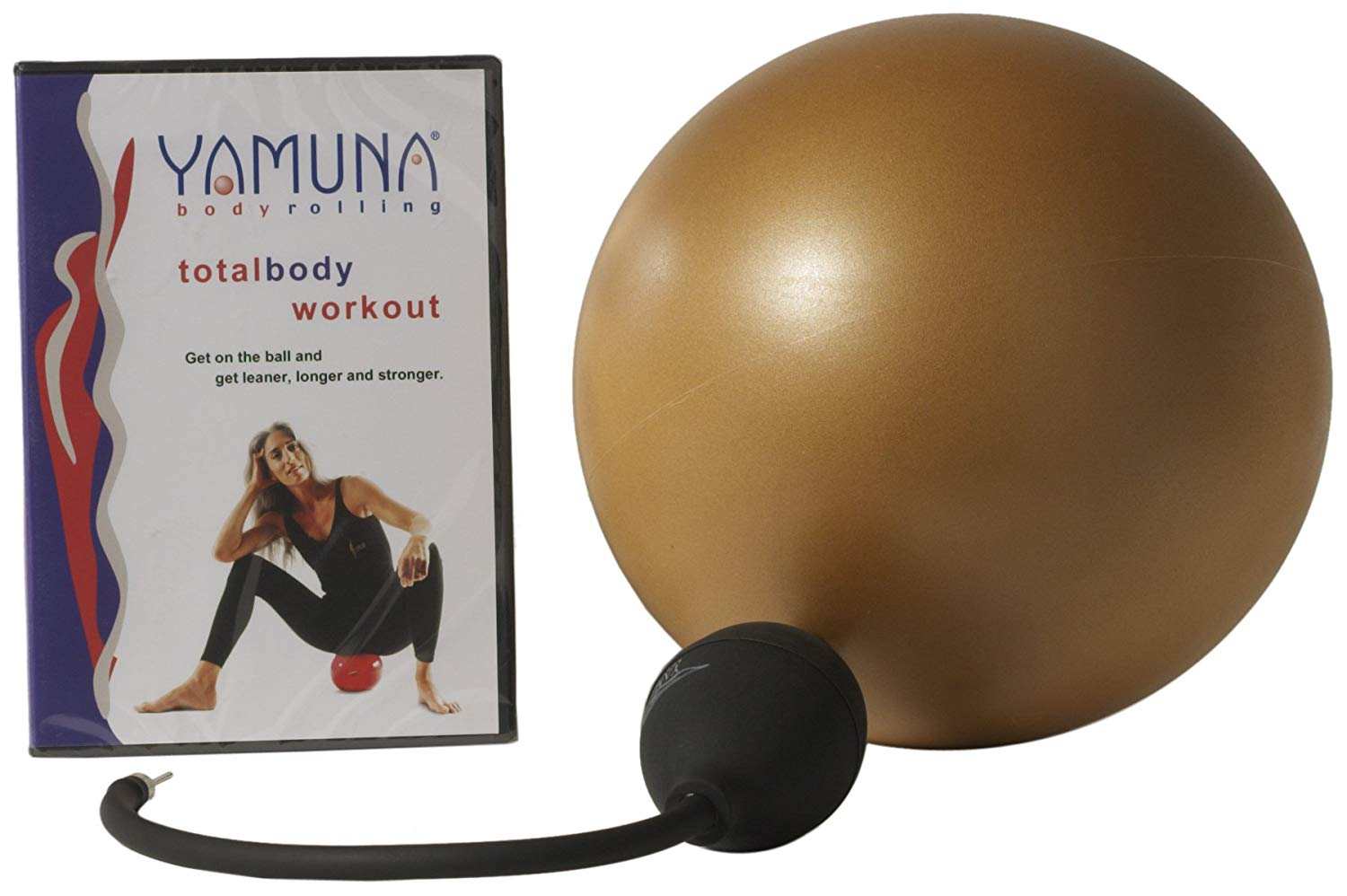 happy fascia & muscles - Yamuna beginner body rolling kit - This is all you need to get started with the amazing benefits of body rolling with the Yamuna method! Body rolling with an inflatable ball offers many advantages to foam rolling … It's more gentle and comfortable on the body, but goes just as deep. And because it's a sphere, you can roll every area of your body (while foam rolling is more limited). This intro DVD is the perfect introduction, with Yamuna herself! Comes with a pump, which you can use for any smaller balls you purchase (there are many sizes- this beginner one being the largest)!