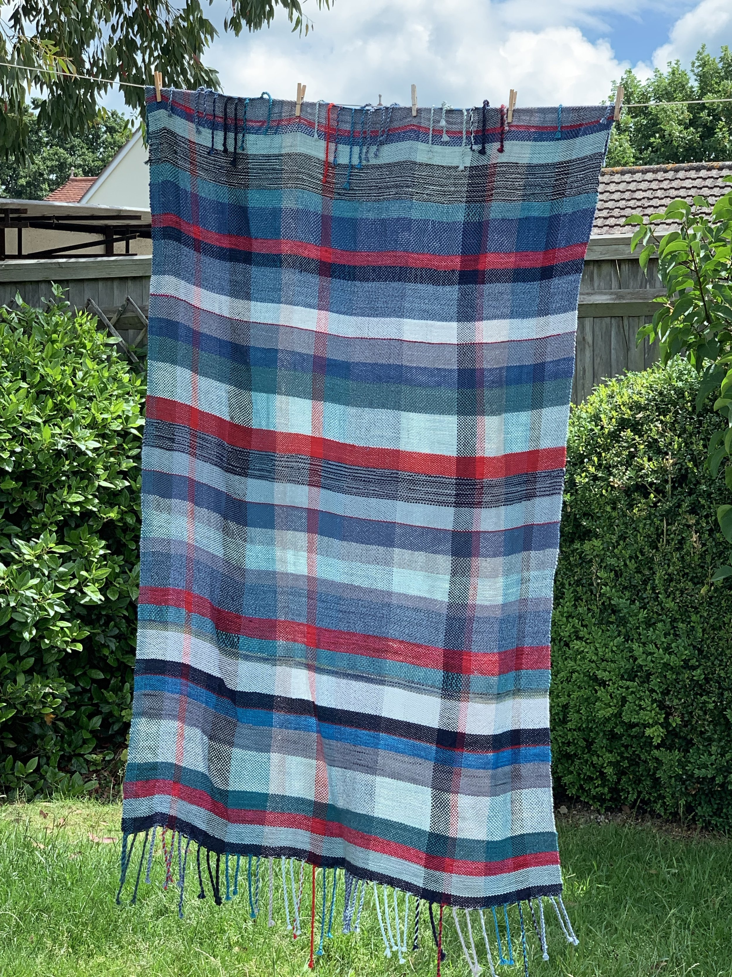 The blues and reds of Renee's blanket looked lovely.