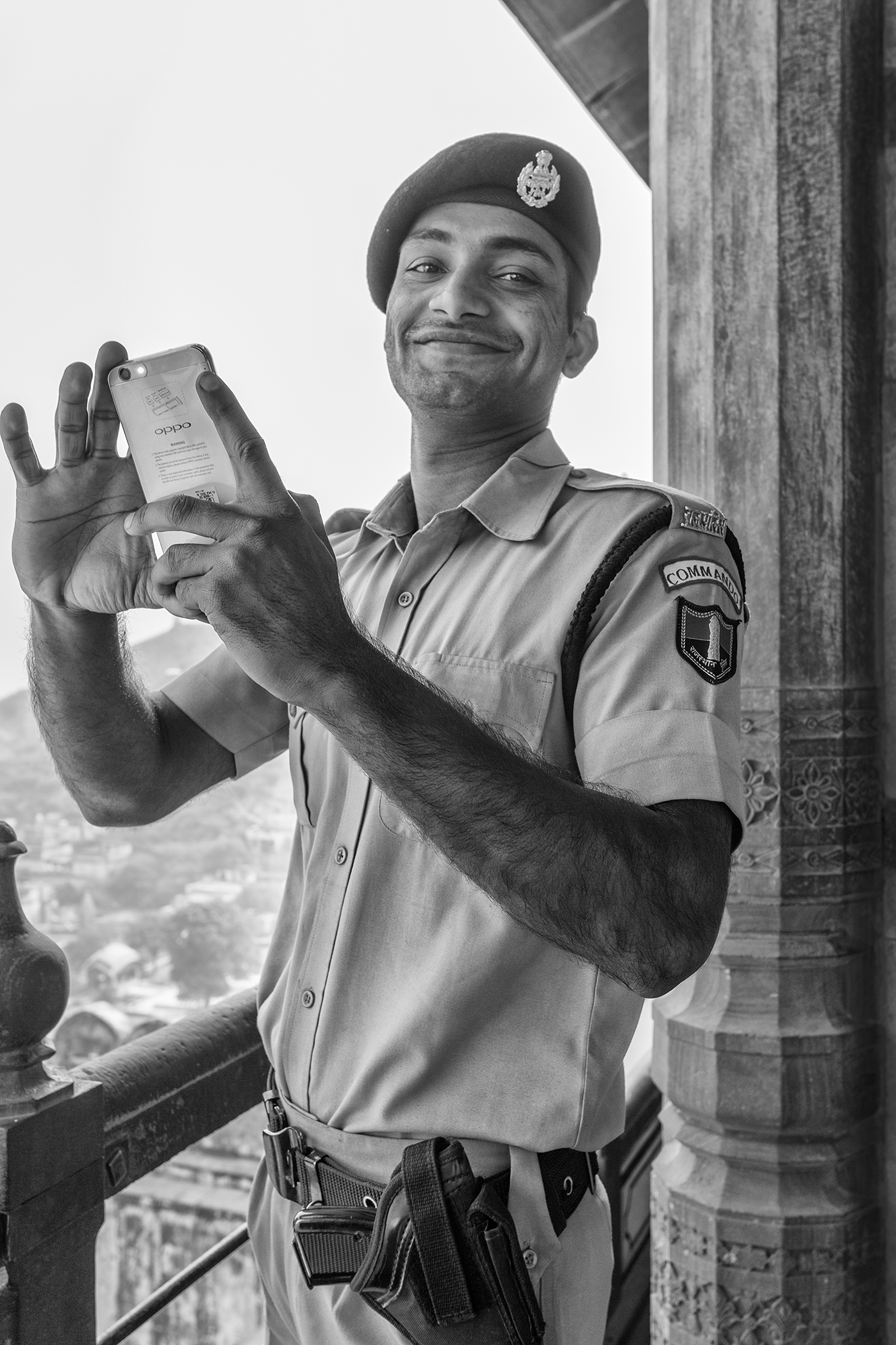 India Rajasthan Soldier with cell phone.jpg