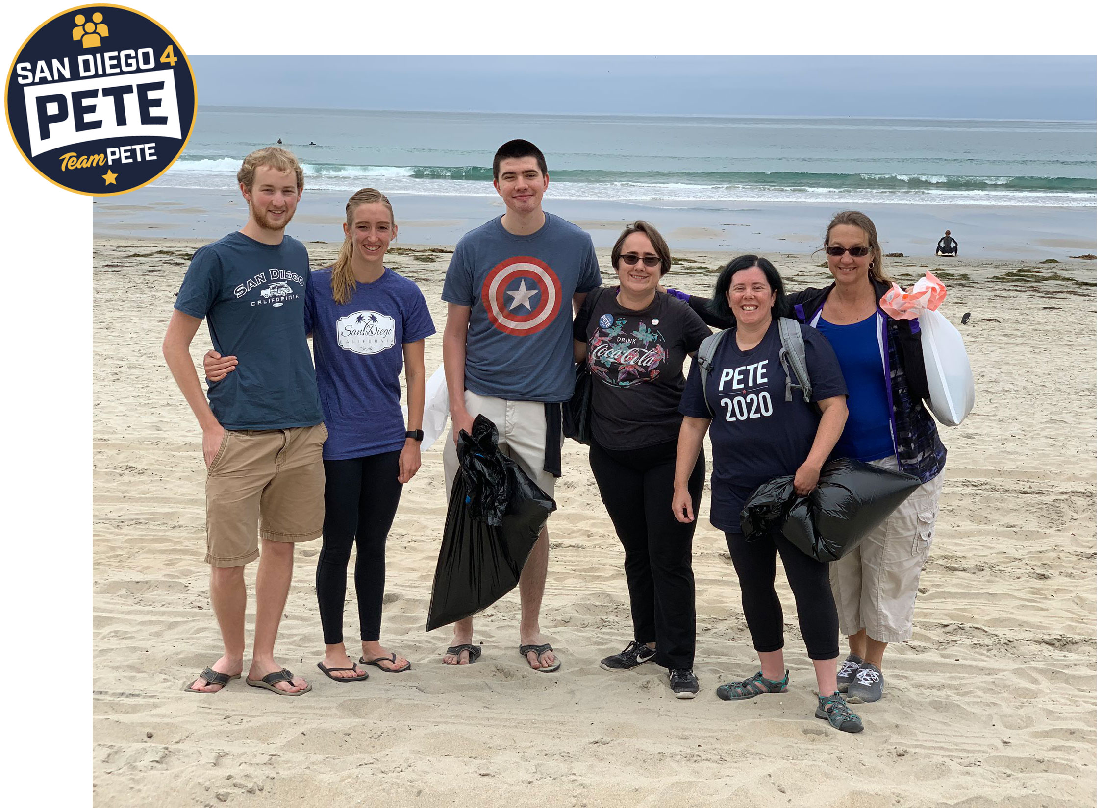 Meet San Diego for Pete - Andi is wearing the Pete 2020 shirt in the picture above, where a group of Pete supporters met up for a beach clean up!