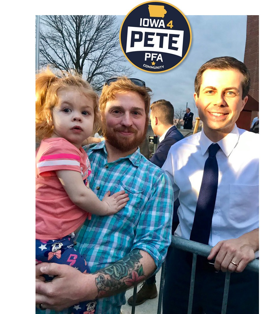 Meet Iowa for Pete - Joseph is a teacher in central Iowa who lives with his wife, their daughter and three (!) dogs. He's looking to organize on-the-ground action in his early primary state, so #tellapal!