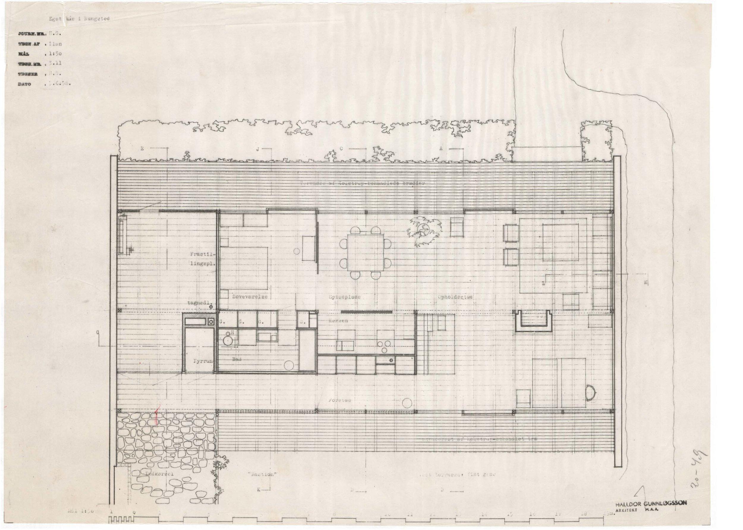 Plan. Gunnløgssons eget hus, Rungsted, 1958