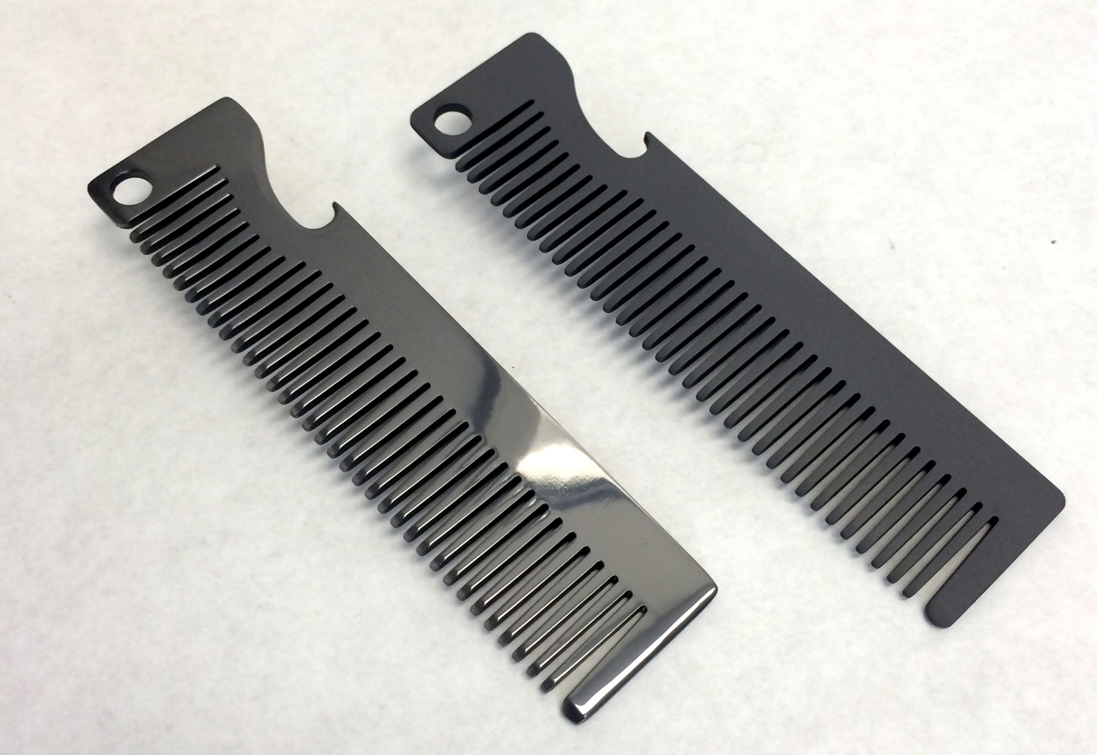 All of our coatings are conformal! Pictured above are two Metal Comb Works combs coated in TiAlN. One with a polished finish and the other with a matte finish.