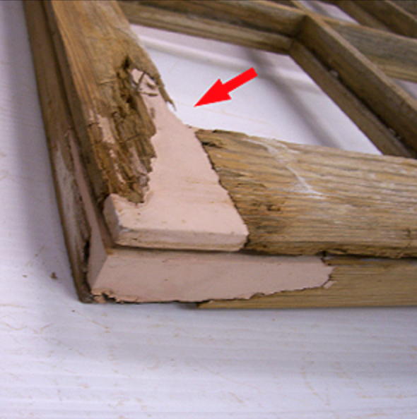 AUTO BODY FILLER IS NOT COMPATIBLE WITH WOOD - What you see is auto body filler which tends to promote decay right where it connects to the wood. We do not use it.