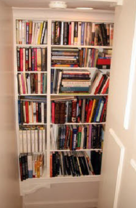 staircase bookshelves - Some projects are about every inch. These two bookcases are in a stairway. Door swing, clearance for passage, projection of molding and ornament are considered.